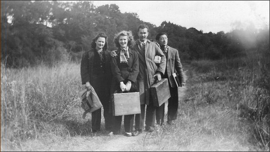Don, Mary, Harvey Okawara & another student, 1947