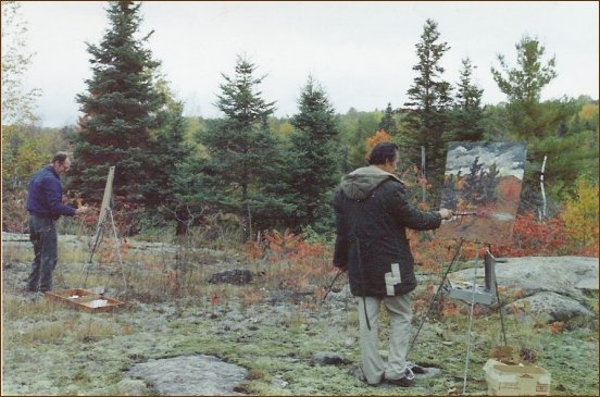 Don and Ross painting near Buckhorn, Rudi Phillips' photo Oct.1980
