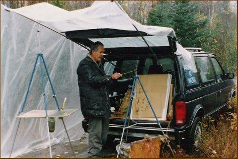 Don Fraser beside Poul Thrane's van, October 1992